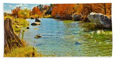 Fall On The Medina River Beach Sheet