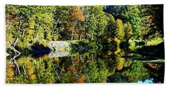 Beach Towel featuring the photograph Fall On The Ottauquechee River by Joseph Hendrix