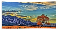 Beach Towel featuring the photograph Fall Over The Flatirons by Scott Mahon