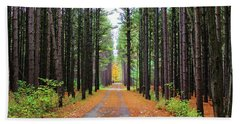 Fall Pines Road Beach Towel