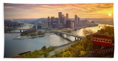 Fall Pittsburgh Skyline  Beach Sheet by Emmanuel Panagiotakis