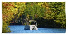 Beach Towel featuring the photograph Fall Pontoon Boat Ride by Sandi OReilly