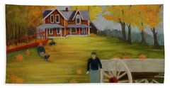 Fall Pumpkin Harvest Beach Sheet