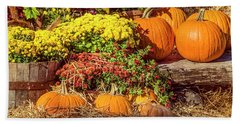 Beach Towel featuring the photograph Fall Pumpkins by Carolyn Marshall
