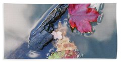 Fall Reflections Leaves In The Water Beach Towel