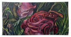 Beach Towel featuring the painting Fall Roses by Nadine Dennis