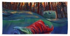 Fall Salmon Fishing Beach Towel