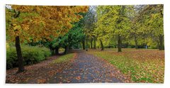 Beach Towel featuring the photograph Fall Season At Laurelhurst Park In Portland Oregon by Jit Lim