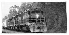 Fall Train In Black And White Beach Towel