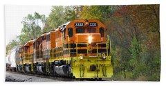 Fall Train In Color Beach Towel