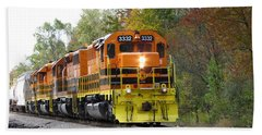 Fall Train In Color Beach Towel
