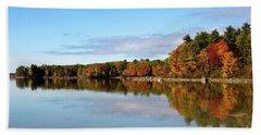 Fall Tree Reflections Lake Sabago Maine Beach Towel