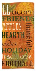 Fall Typography 2 Beach Towel