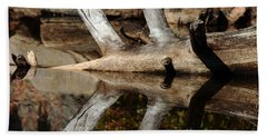 Beach Sheet featuring the photograph Fallen Tree Mirror Image by Debbie Oppermann