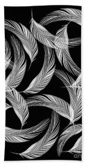 Falling White Feathers Beach Towel