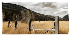 Beach Sheet featuring the photograph Fallowfield Weathered Fence Rocky Mountain National Park Dramatic Sky by John Stephens