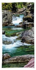 Falls Above Lake Mc Donald Beach Towel