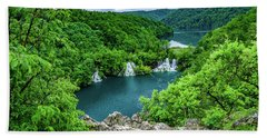 Falls From Above - Plitvice Lakes National Park, Croatia Beach Towel