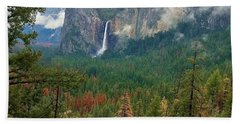 Beach Towel featuring the photograph Falls In Yosemite B by Phyllis Spoor