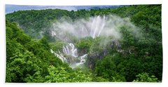 Falls Through The Fog - Plitvice Lakes National Park Croatia Beach Sheet