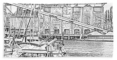 False Creek And Grenville Island Sketch Beach Towel