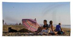 Family At Ocean Beach With Dogs Beach Sheet