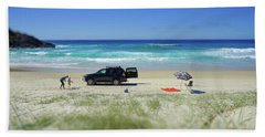 Family Day On Beach With 4wd Car  Beach Sheet