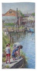 Family Fishing At Eling Tide Mill Hampshire Beach Sheet