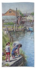Beach Towel featuring the painting Family Fishing At Eling Tide Mill Hampshire by Martin Davey