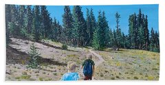 Beach Towel featuring the painting Family Hike by Kevin Daly