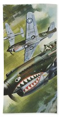 Famous Aircraft And Their Pilots Beach Towel by Wilf Hardy
