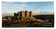 Famous Amberd Fortress With Mount Ararat At Back, Armenia Beach Towel