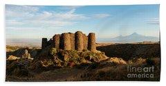 Famous Amberd Fortress With Mount Ararat At Back, Armenia Beach Towel by Gurgen Bakhshetsyan