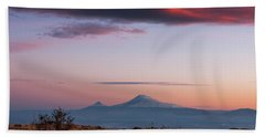 Famous Ararat Mountain During Beautiful Sunset As Seen From Armenia Beach Towel