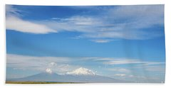 Famous Ararat Mountain Under Beautiful Clouds As Seen From Armenia Beach Towel