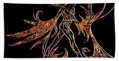 Beach Towel featuring the drawing Fancy Flight On Fire by Jamie Lynn