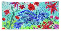 Fancy Fowl In The Flowers Beach Towel by Adria Trail