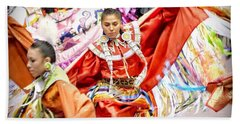 Fancy Shawl Dancers Beach Towel by Clarice Lakota