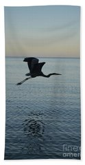 Fantastic Flying Great Blue Heron Beach Sheet