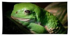 Fantastic Green Frog Beach Sheet by Jean Noren