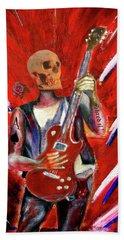 Fantasy Heavy Metal Skull Guitarist Beach Towel