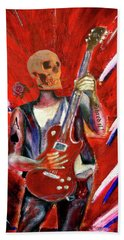 Fantasy Heavy Metal Skull Guitarist Beach Sheet by Tom Conway