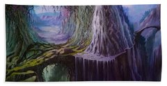 Beach Towel featuring the painting Fantasy Land by Rosario Piazza
