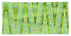 Beach Towel featuring the digital art Fantasy Lime Forest Tapestry by Ann Johndro-Collins