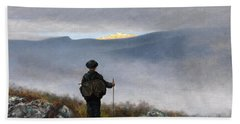 Beach Towel featuring the painting Far Far Away Soria Moria Palace Shimmered Like Gold by Theodor Kittelsen