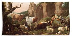 Farm Animals In A Landscape Beach Towel by Johann Heinrich Roos