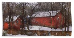 Farm - Barn - Winter In The Country  Beach Sheet