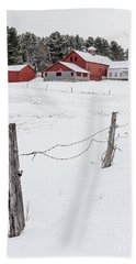 Farm Buildings In Winter Beach Sheet by Edward Fielding