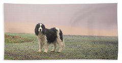 Farm Dog In Fog Beach Towel