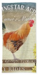 Beach Towel featuring the painting Farm Fresh Barnyard Rooster Morning Sunflower Rustic by Audrey Jeanne Roberts